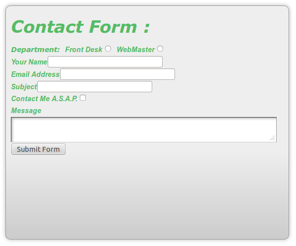 Our Form After Basic Style on the CSS Form Property
